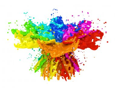 Colorful paint splashing isolated on white stock vector