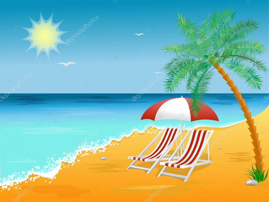 Cartel De Fondo Verano Vacaciones Playa Con Silla