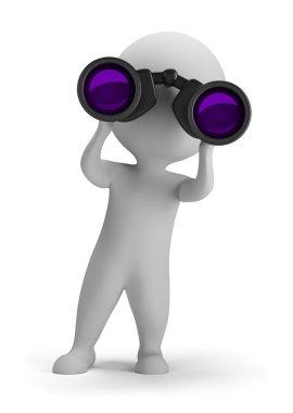 3d small - looking through binoculars