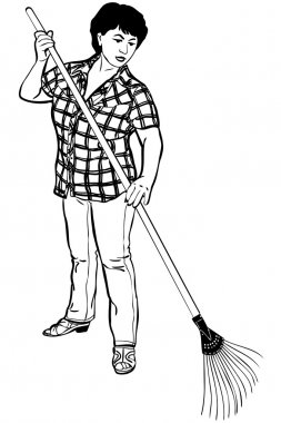 Sketch of woman of farmer with rakes in hands