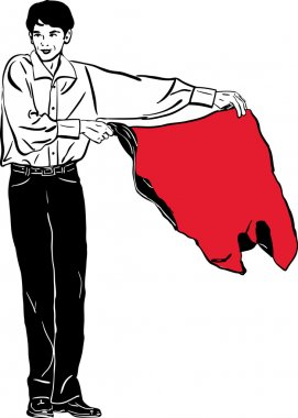 Sketch of a young man waving a red rag
