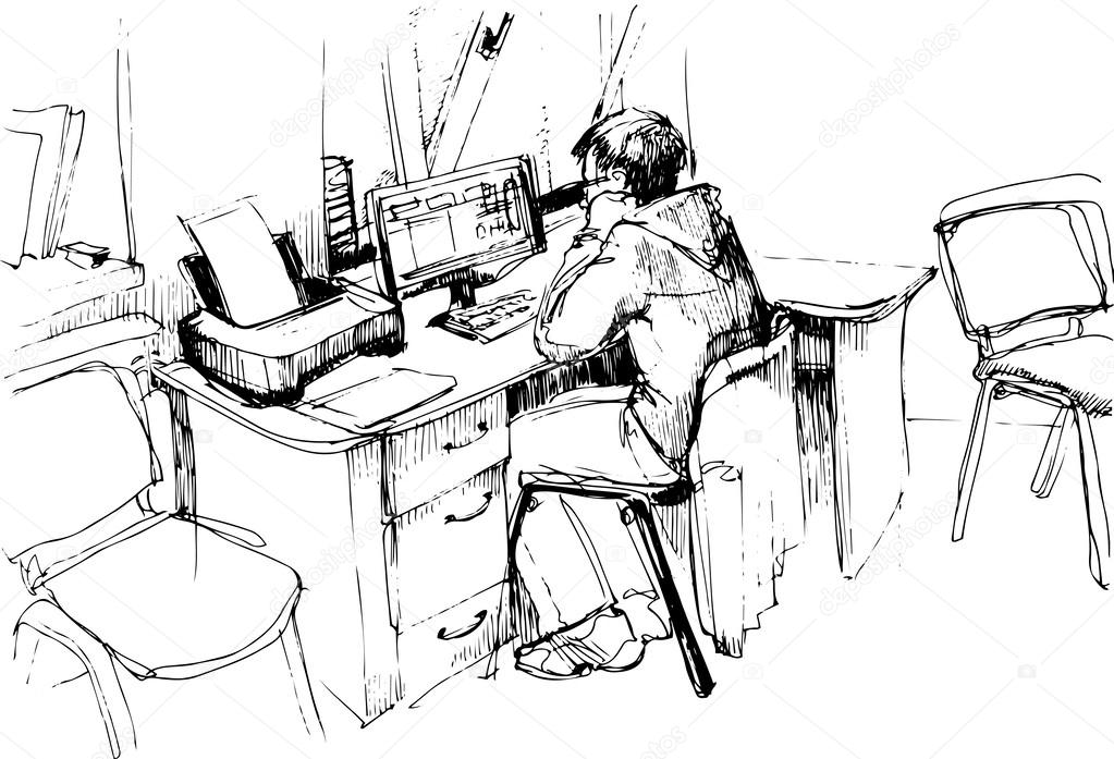 sketch of a man in the office working on the computer