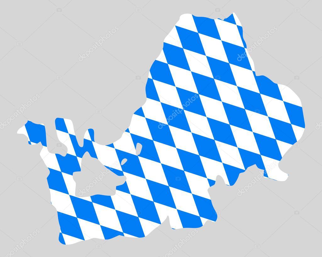 Озеро кимзее на карте. Баварский флаг и карта озера Кимзее ...  Баварский Флаг