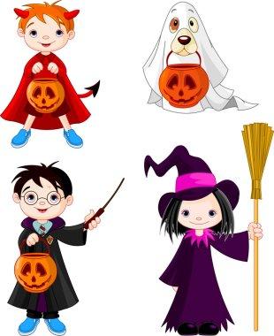 Halloween trick or treating children
