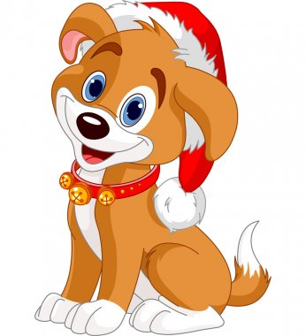Christmas dog with Santa���s hat clip art vector