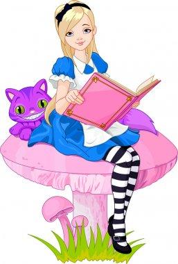 Alice holding book