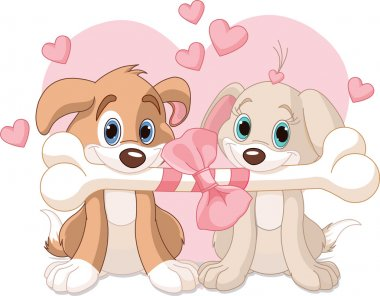 Two Valentine dogs holding decorated bone clip art vector