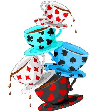 Set of colorful wonderland tea cups pyramid stock vector