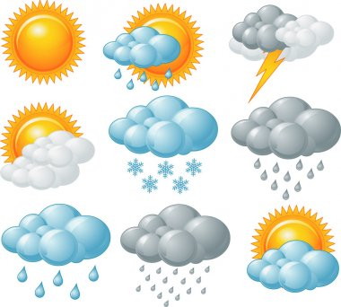 Nine weather related icons set stock vector