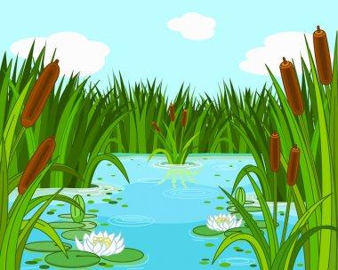 Illustration of a pond scene stock vector
