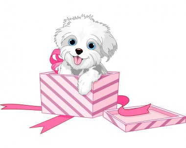 Cute puppy inside gift boxes clip art vector