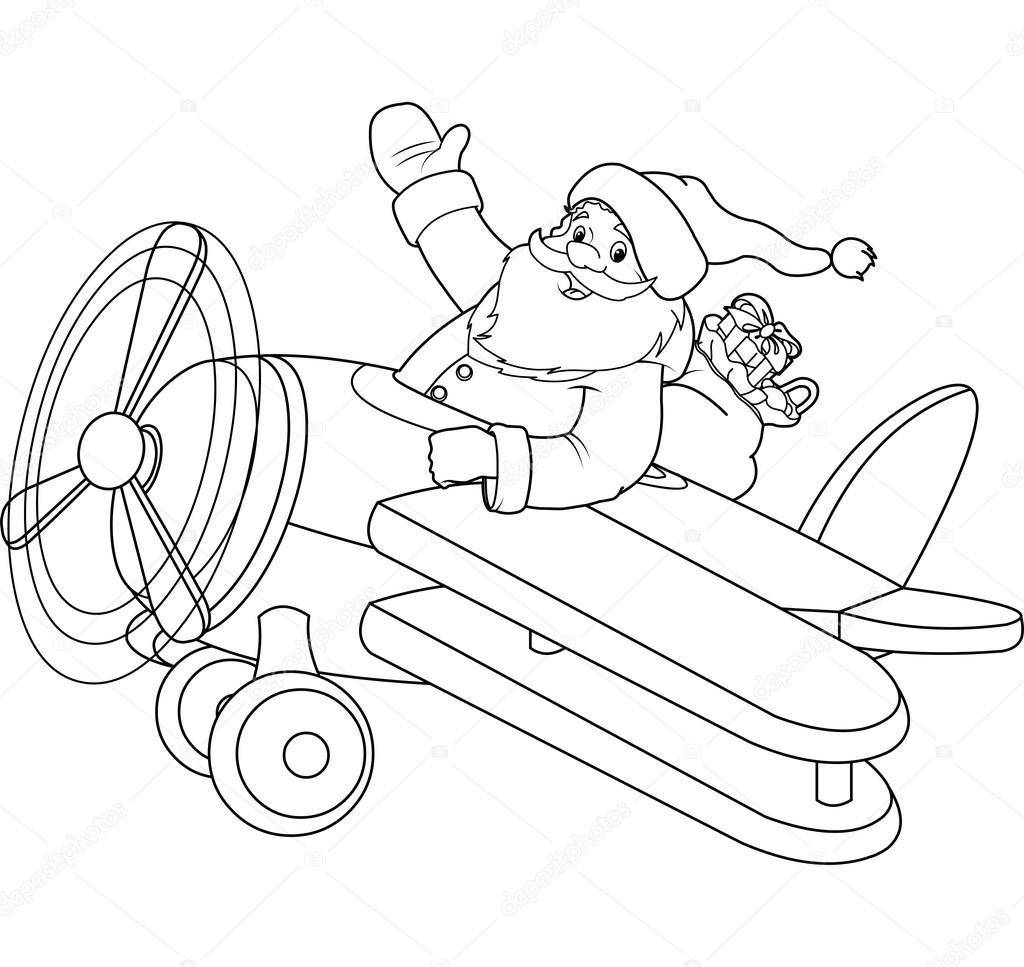Santa Uçak Boyama Sayfası Stok Vektör Dazdraperma 30012925
