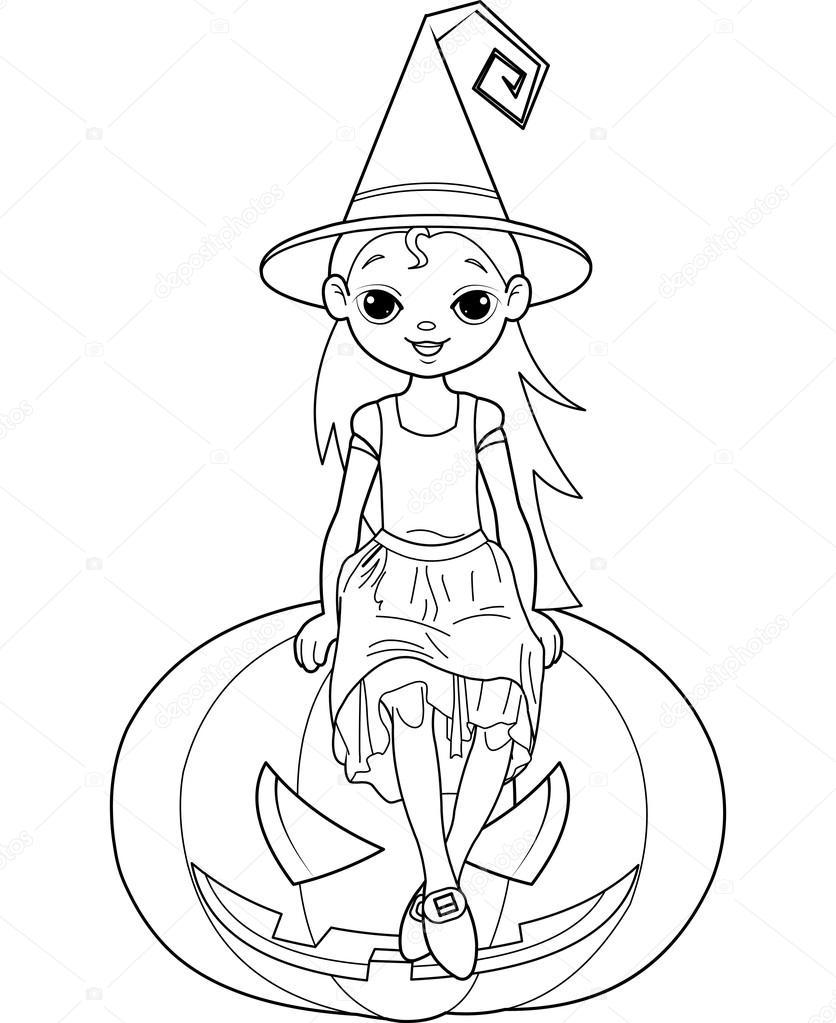 Küçük Halloween Cadı Boyama Sayfası Stok Vektör Dazdraperma
