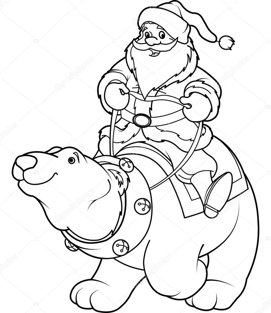 Christmas polar bear coloring pages | Santa Claus riding on polar ...