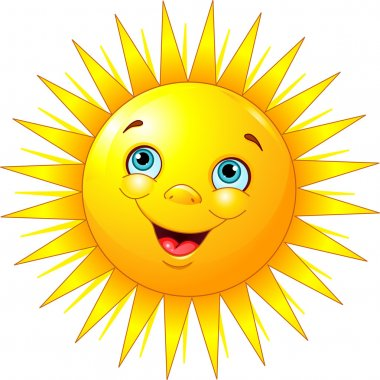 Illustration of smiling sun character stock vector