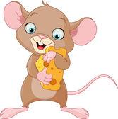 Fotografia mouse tenendo un pezzo di formaggio