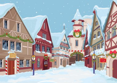 Christmas town street at winter day clip art vector