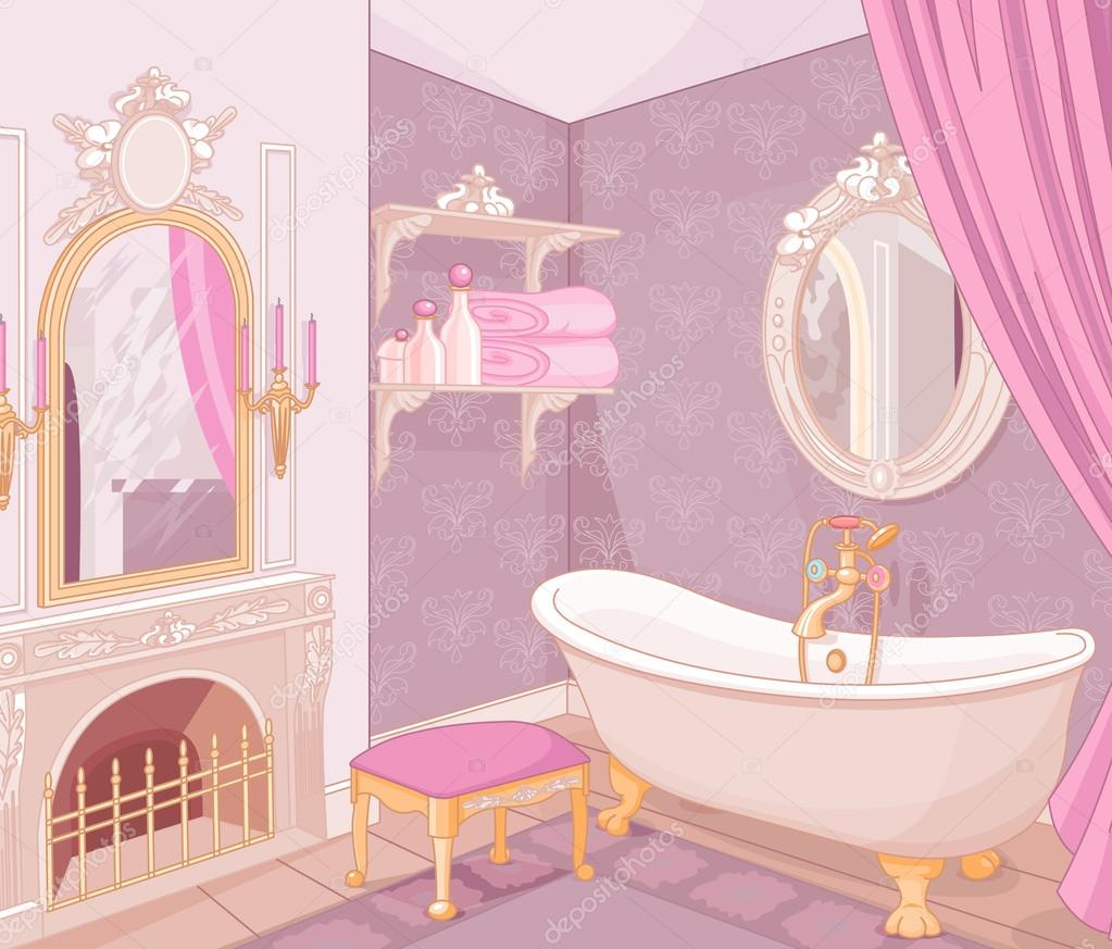 Bathroom in the palace of the princess stock vector