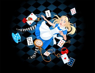 Alice is falling down into the rabbit hole stock vector
