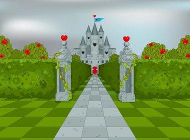 Palace of Queen of Hearts in Wonderland stock vector