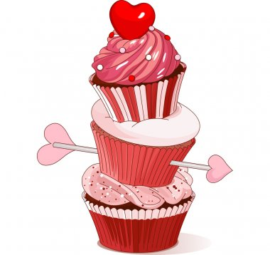 Pyramid of Valentine cupcakes clip art vector