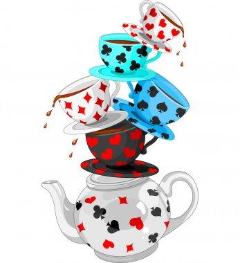 Wonderland Mad Tea Party Pyramid stock vector