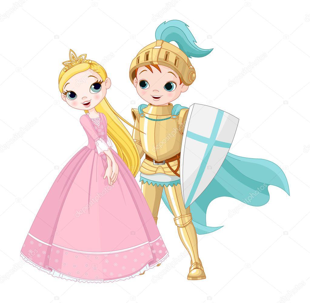 Una ilustraci n de dibujos animados de un caballero y una - Caballeros y princesas literas ...
