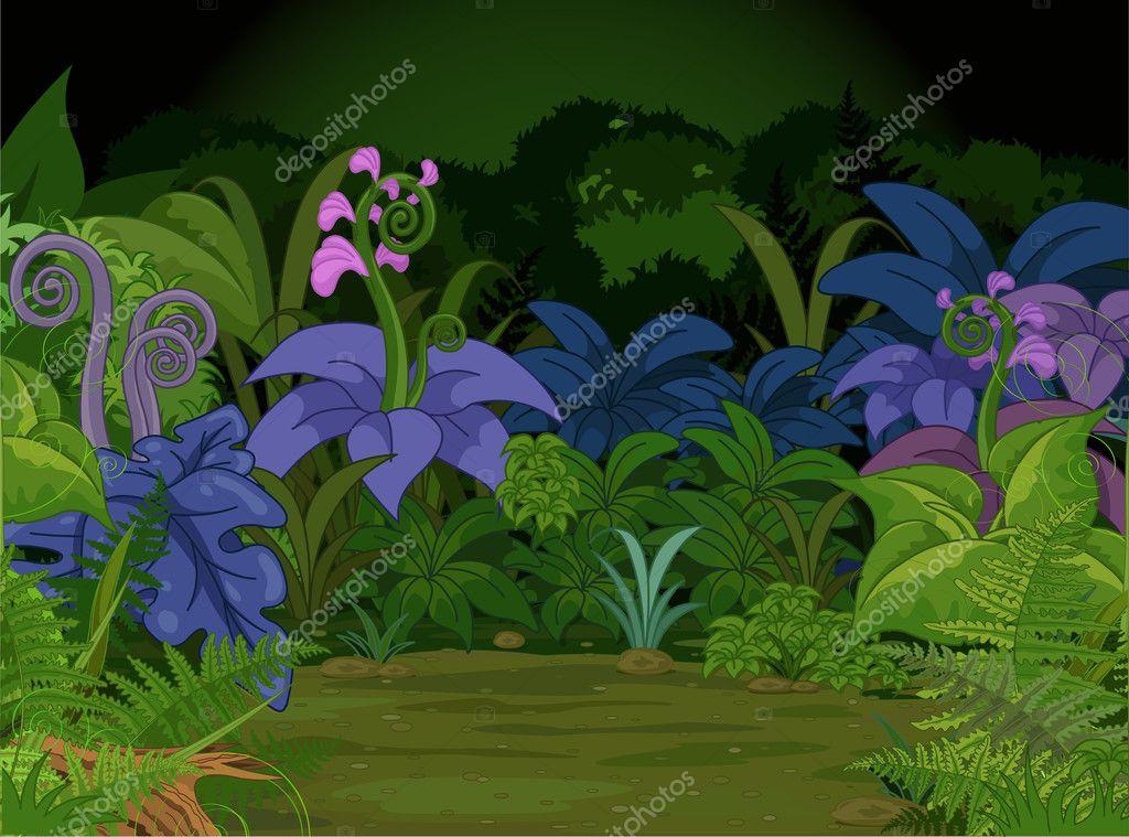 Jungle landscape with  plants