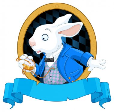 White Rabbit with pocket watch and place for text stock vector