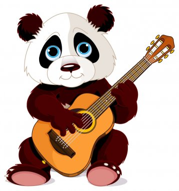 Panda plays guitar