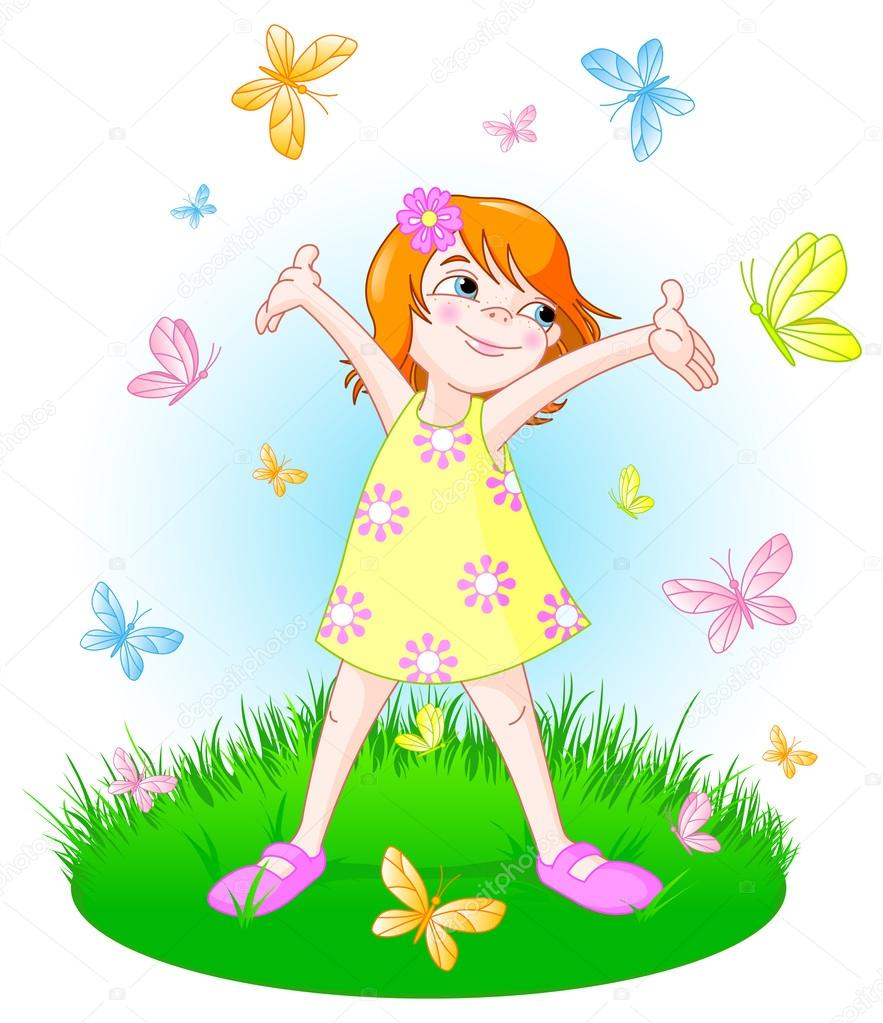 Little girl with butterflies on field
