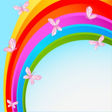 Flying butterflies against the backdrop of the cloudless sky with rainbow stock vector