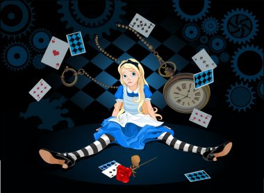 Confused Alice after she has grown in size and do not know what to do on flying elements background stock vector