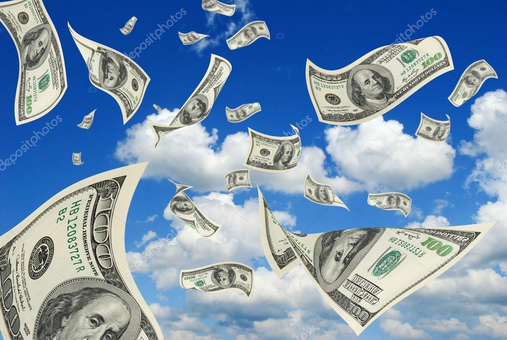 Dollars in sky.