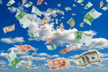 Money flying out of the sky.