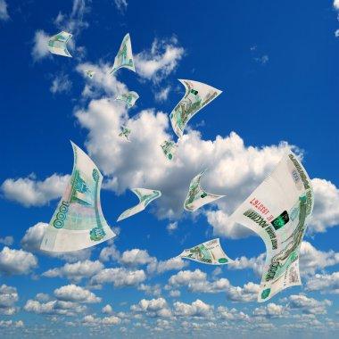 Russian money in sky.