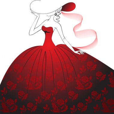 Lady in red dress and hat