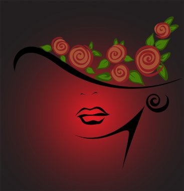 Feminine silhouette in a hat with red roses