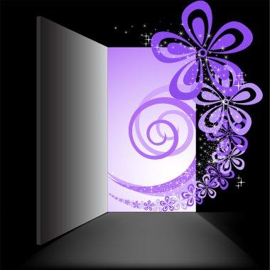 Open the door with the purple swirl