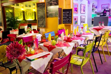 Street bright coloured cafe