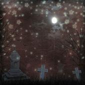 Fotografie Spooky Halloween graveyard with dark clouds and ominous moon