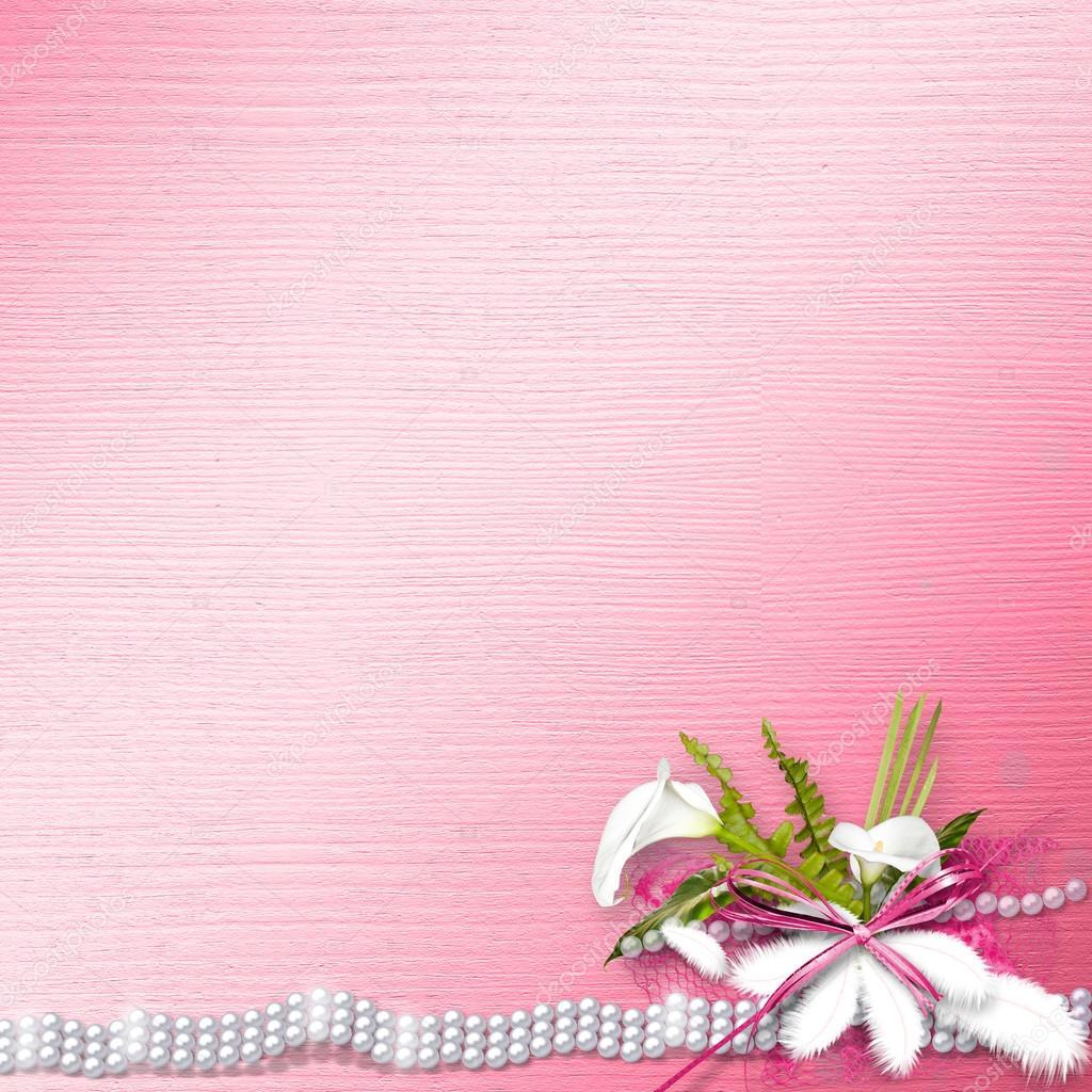 Einladungskarte Für Die Hochzeit, Mit Weiße Callas Und Erbse U2014 Stockfoto