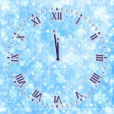 Antique clock face on the abstract background with snowflakes an