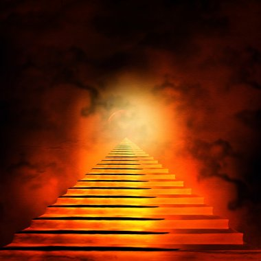 "Картина, постер, плакат, фотообои ""лестница, приводящая к небесам или аду. свет в конце бочки"", артикул 16835255"