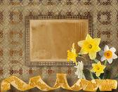 Fotografia cartolina depoca per invito con mazzo di narcisi gialli