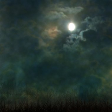 Spooky Halloween graveyard with dark clouds and ominous moon