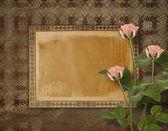 Fotografia cartolina depoca per invito con mazzo di rose rosa