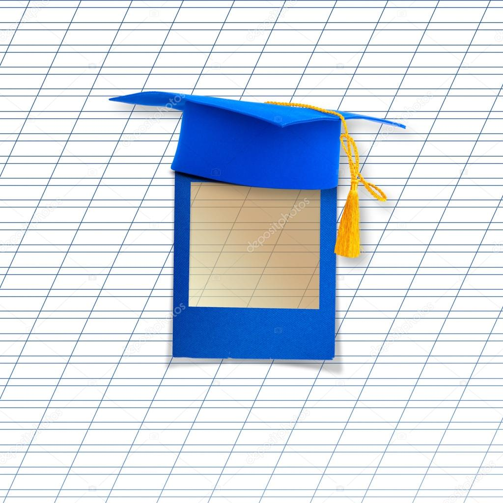 Mortar board or graduation cap with blue slide on the background