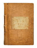 Old worn book cover with ornamental pattern