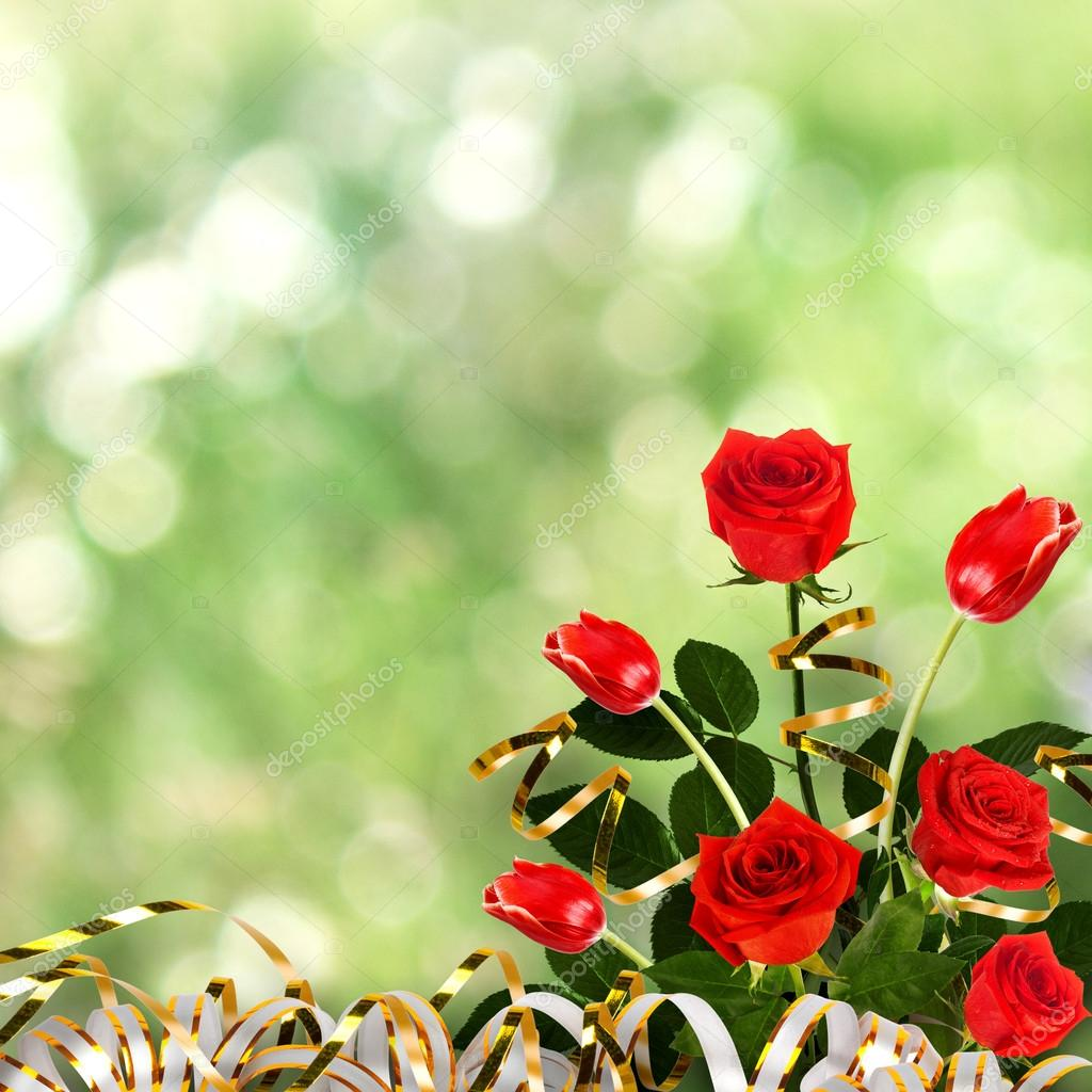 Bouquet of red roses and tulips